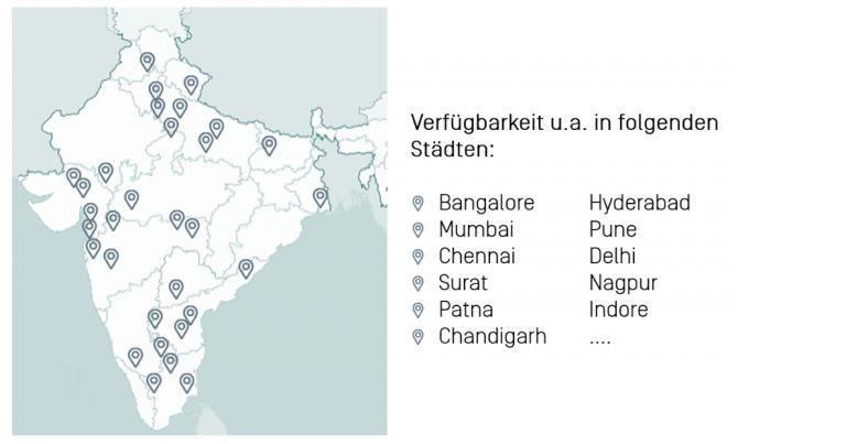 Einzeichnung der Standorte des Startups BigBasket in eine Karte von Indien